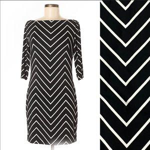 RALPH LAUREN Black/White Chevron herringbone dress